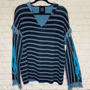 Urban outfitters striped pull over hoodie